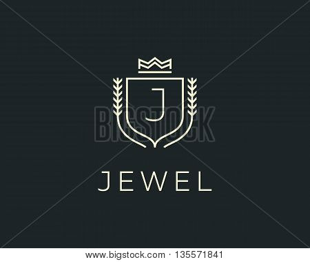 Premium monogram letter J initials ornate signature logotype. Elegant crest logo icon vector design. Luxury shield crown sign