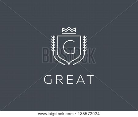 Premium monogram letter G initials ornate signature logotype. Elegant crest logo icon vector design. Luxury shield crown sign