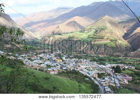 Magdalena Cajamarca Peru - June 22 2016: Scenic view of the town of Magdalena in Magdalena Cajamarca Peru on June 22 2016