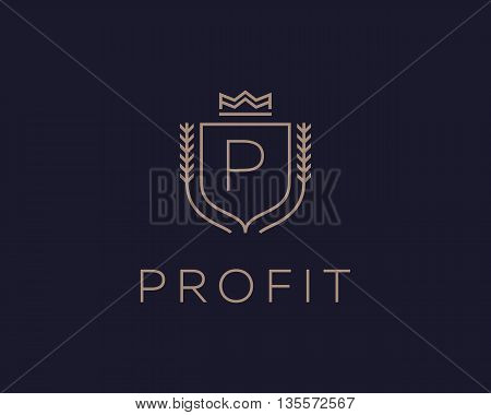 Premium monogram letter P initials ornate signature logotype. Elegant crest logo icon vector design. Luxury shield crown sign
