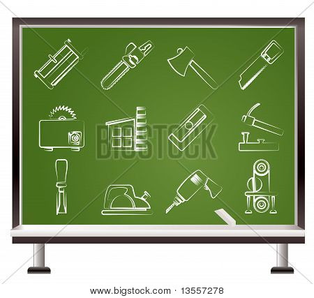 painted with chalk Woodworking industry and Woodworking tools icons