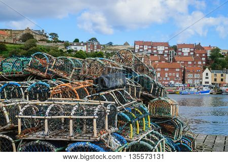 Basket for catch lobster on the boardwalk in Whitby abbey North Yorkshire UK