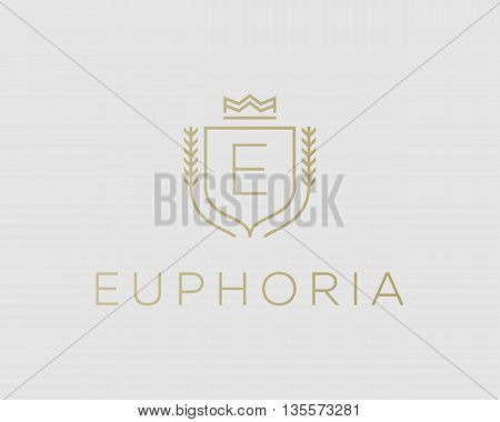 Premium monogram letter E initials ornate signature logotype. Elegant crest logo icon vector design. Luxury shield crown sign