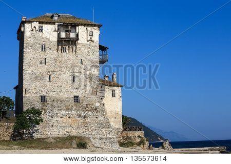Ancient Ouranoupolis Tower On Athos Peninsula In Halkidiki, Greece