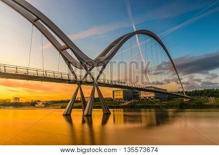 Infinity Bridge at sunset In Stockton-on-Tees UK