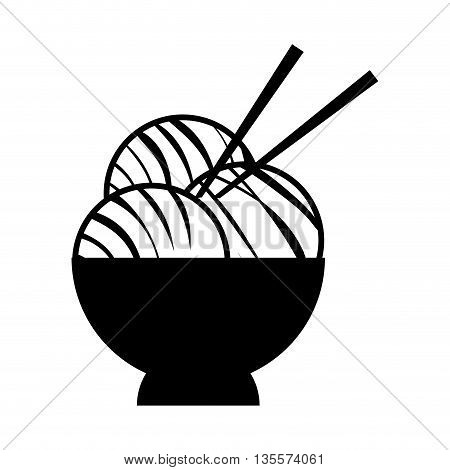 Japan culture concept represented by noodle icon over flat and isolated background