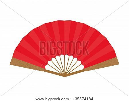 Japan culture concept represented by  females fan icon over flat and isolated background