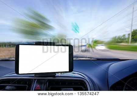 Blank mobile smart phone selective focus on road background shallow depth of field and motion blur effect