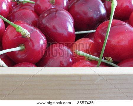 Border of fresh cherries on wooden background with copy space