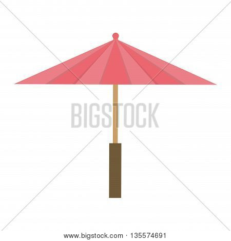 Japan culture concept represented by umbrella icon over flat and isolated background