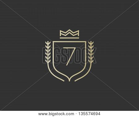 Premium number 7 ornate logotype. Elegant numeral crest logo icon vector design. Luxury figure shield crown sign. Concept for print or t-shirt design.