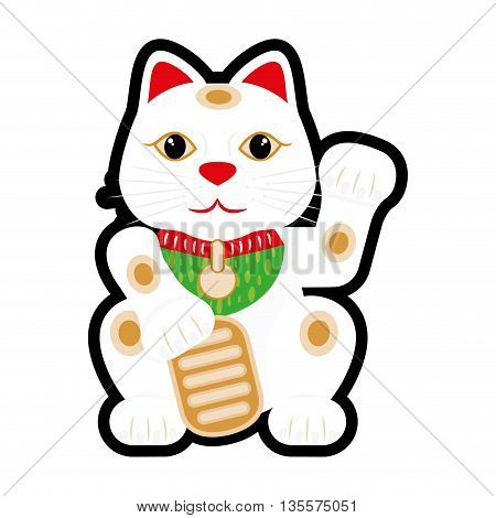 Japan culture concept represented by lucky cat icon over flat and isolated background