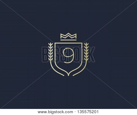 Premium number 9 ornate logotype. Elegant numeral crest logo icon vector design. Luxury figure shield crown sign. Concept for print or t-shirt design.