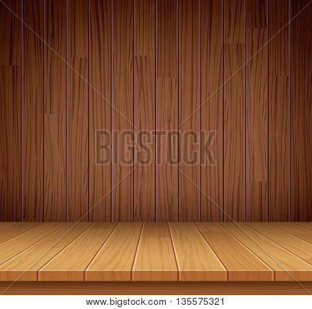 Vector empty wooden shelf background.Empty wood for your product display or montage.
