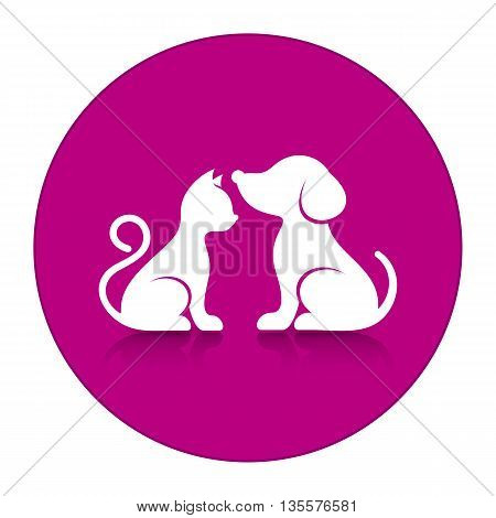 Cute cat and dog silhouettes inside round button