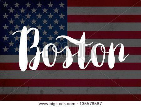 Boston written with hand-written letters