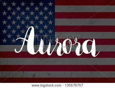 Aurora written with hand-written letters