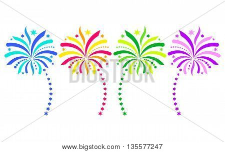 Colorful vector firework design elements isolated on white