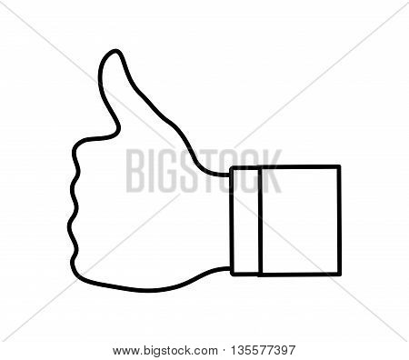 Human hand  represented by specific gesture with fingers icon over isolated and flat background