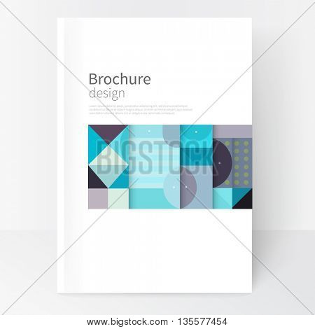 Minimalistic white cover template. Flat style creative concept  cover for catalog, report, brochure. Pastel color turquoise, violet & blue. abstract geometric shapes. Squares, triangles and circles