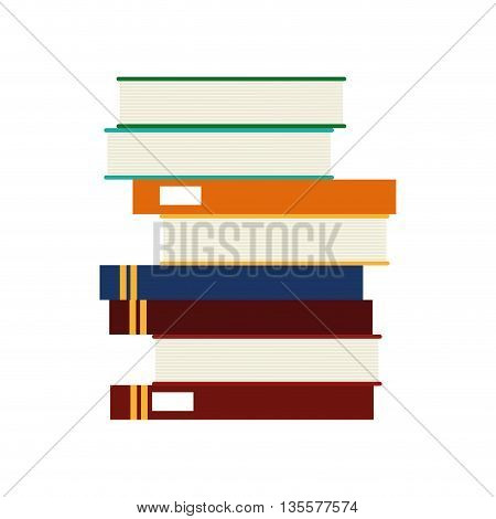 flat design stack of books icon vector illustration