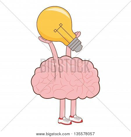 flat design brain holding lightbulb icon vector illustration