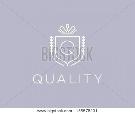 Elegant monogram letter Q logotype. Premium crest logo design. Shield, royal crown symbol. Print, t-shirt design shape
