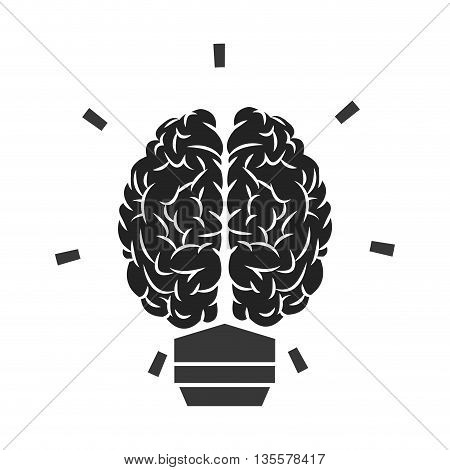 flat design grey brain lightbulb icon vector illustration