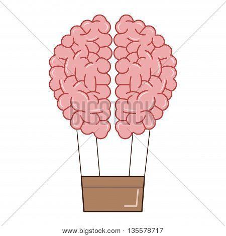 flat design of human brain holding basket like hot air balloon icon vector illustration