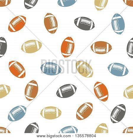 American football seamless pattern. Balls on white background