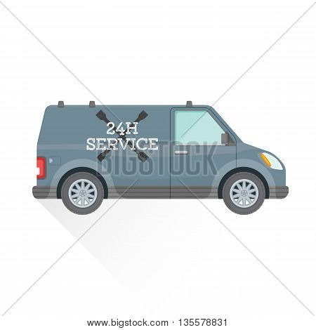 Emergency Repair Service Car Illustration.