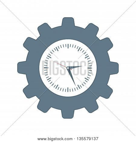 time represented by gear and clock icon over isolated and flat background