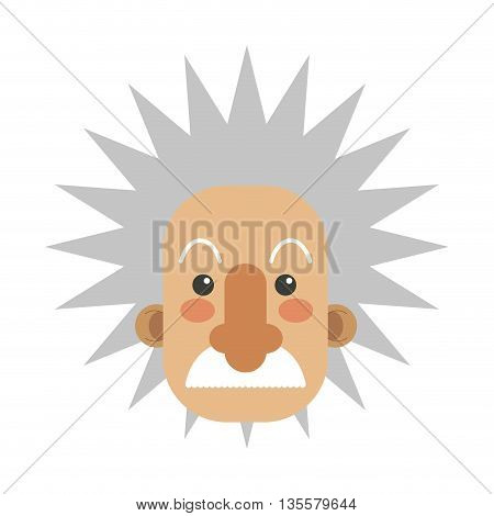 flat design of albert einstein facevector illustration