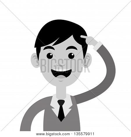 grey flat desing of man pointing to his head with arm vector illustration