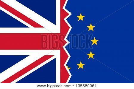 Brexit UK EU referendum flags. Vector illustration