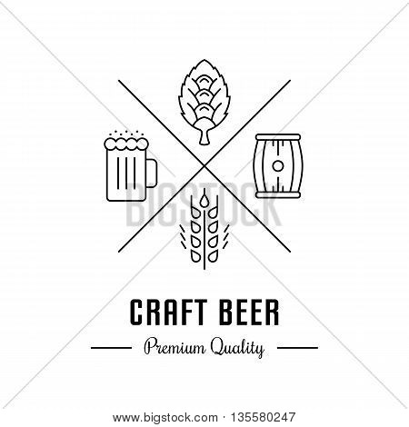 Vector logo beer with wheat hops beer mug and barrel. Hipster logo label or banner for craft beer bar and pub.