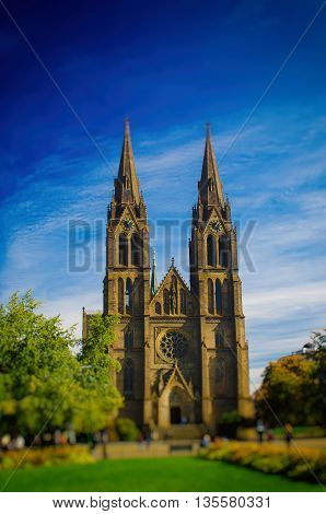Medieval Kostel sv. Ludmily - Church of St. Ludmila - in Prague, Czech republic, travel outdoor european religious image