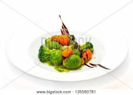 salad of broccoli carrots and brussels sprouts steamed