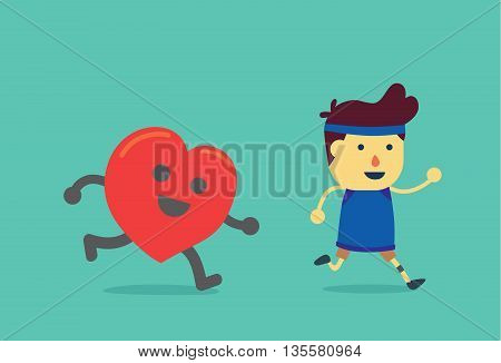 Heart run after healthy man. This illustration about when a man running like a heart get exercising.