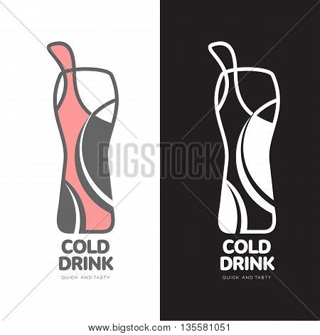 Coke in a bottle logo, vector logo design isolated on a white background, logo design concept fast Coupling sweet fizzy drink, logo design of a bottle of lemonade