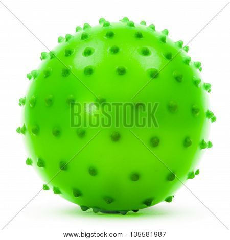 Children's green ball isolated on white background