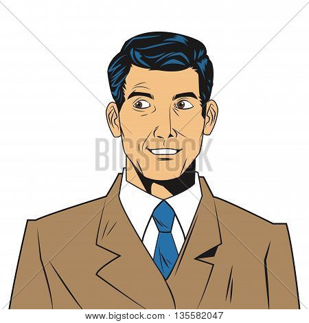 comic style seemingly uncomfotable man wearing jacket and tie icon vector illustration