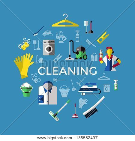 Cleaning round composition with colored an isolated icon set on washing and cleaning themes vector illustration