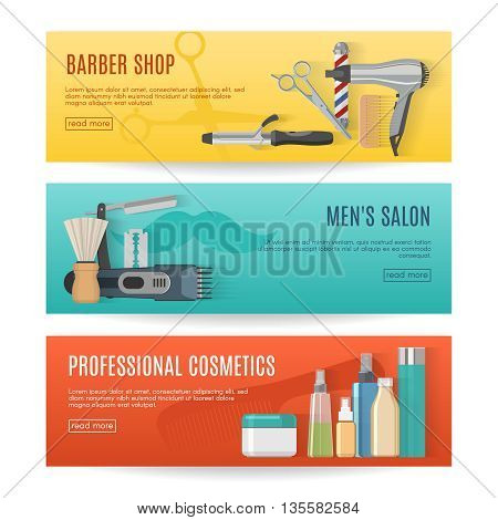Beauty studio horizontal banners set with barber shop mens salon professional cosmetics isolated vector illustration