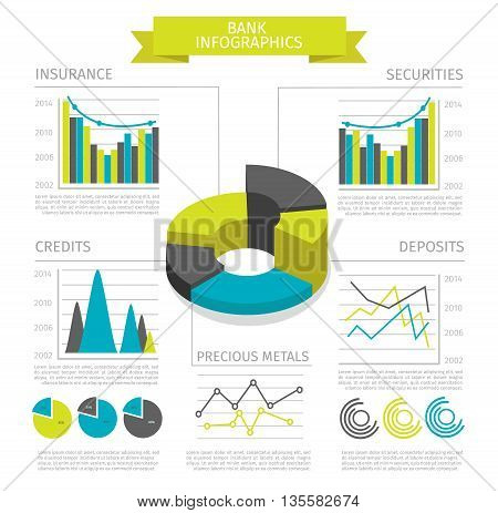 Colored bank infographic with descriptions of graphics business report insurance securities credits and deposits vector illustration