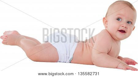 A photo of cute toddler looking away Side view of baby boy is lying on his tummy He is wearing diaper isolated on white background