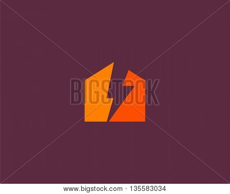 Abstract flash house logo design template. Universal energy tech home smart vector icon. Thunder bolt negative space logotype.