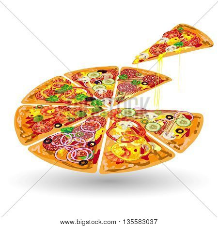 Pizza color composition pizza sliced on portions and one piece separated vector illustration