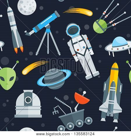 Space seamless pattern with astronaut landing capsule rocket shuttle comet alien satellites on blue background vector illustration