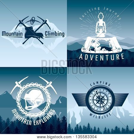 Mountain adventures compositions in blue white colors with climbing equipment on natural landscape background isolated vector illustration